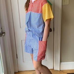 Vintage 2pc stripe top with shorts